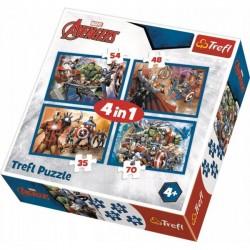 Trefl Puzzle 4w1 Avengers - Nieustraszeni Avengersi 34310