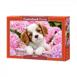 Puzzle 500 elementów. Szczeniak w Różowych Kwiatach 52233