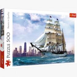 Puzzle 500el. Żaglowiec na tle Chicago 37120