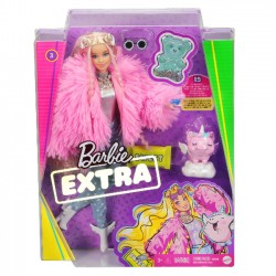 Mattel Lalka Barbie Extra Moda Blondynka Różowe Futro grn28