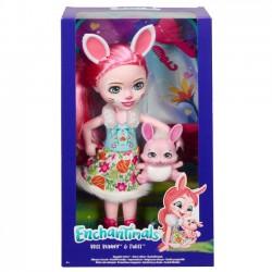 Mattel Lalka Enchantimals Duża + zwierzątko Króliczek