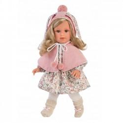 Lalka Lucia blondynka różowy kaptur 40cm