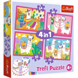 Puzzle 4 w 1 Lamy na wakacjach