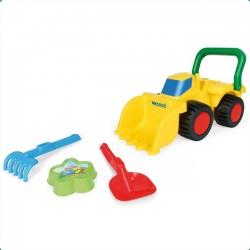 Zabawka spychacz z akcesoriami do piasku