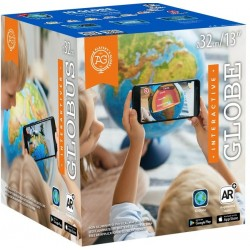 Globus 32cm z mapą fizyczną i polityczną i aplikacją AR światło LED 01911