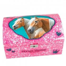 Szkatułka ze skrytką Horses Dreams, różowa