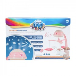 Canpol babies karuzela elektryczna z projektorem i pozytywką różowa